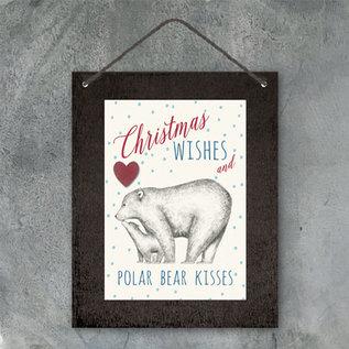 EastOfIndia 3403 -Christmas sign-Christmas wishes and polar bear kisses