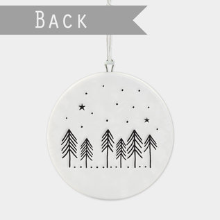 EastOfIndia 6530 Flat porcelain bauble-Cabin in the woods