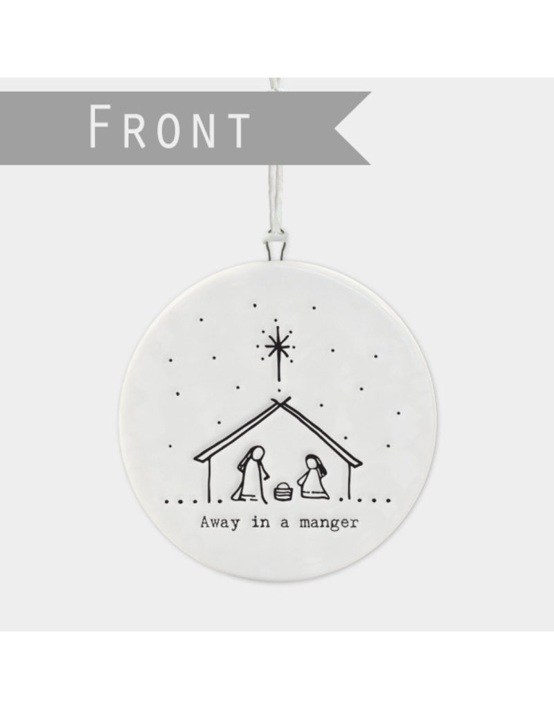 6534 Flat porcelain bauble-Nativity scene