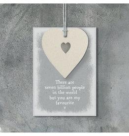 490C Cream heart tag-Seven billion people