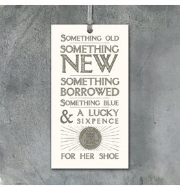 2260 Old,new,borrowed,blue tag with sixpence