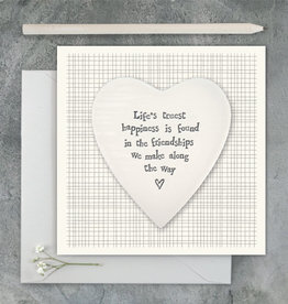 EastOfIndia 2501C Porcelain heart card-Lifes truest happiness