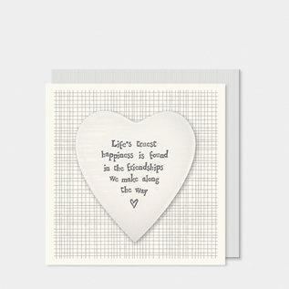 EastOfIndia 2501C Porcelain heart card-Lifes truest happiness