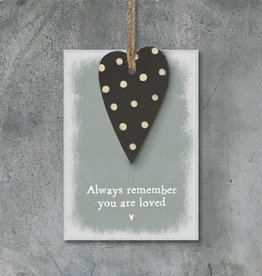 EastOfIndia 2775D Dotty heart tag-Always remember you are loved