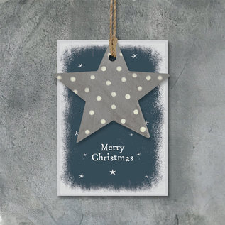 EastOfIndia 2775M Dotty star tag-Merry Christmas
