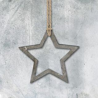 EastOfIndia 3429 Little Grey Outline Star