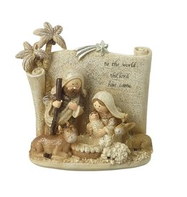 NATIVITY SCENE WITH SCROLL BACKGROUND