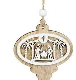 WOODEN NATIVITY HANGING DECORATIONS 1