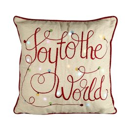 JOY TO THE WORLD LIGHT UP CUSHION