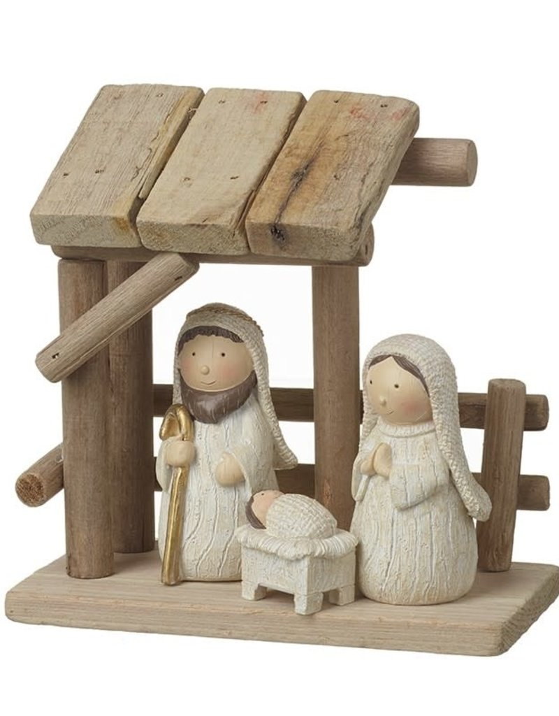 WOODEN NATIVITY WITH WHITE RESIN FIGURES