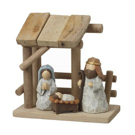WOODEN NATIVITY SET COLOURED FIGURES