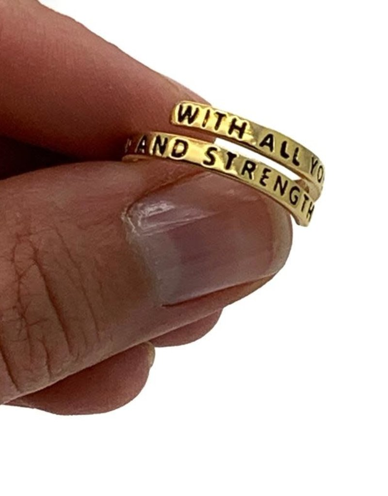 With All Your Heart, Might Mind and Strength Wrap Ring, Adjustable (Colour: Gold)