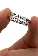 With All Your Heart, Might Mind and Strength Wrap Ring, Adjustable (Colour: Silver)