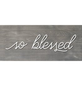 Petal Lane Real Wood Slat Board So Blessed with Raised Lettering 12X6 Gray/White