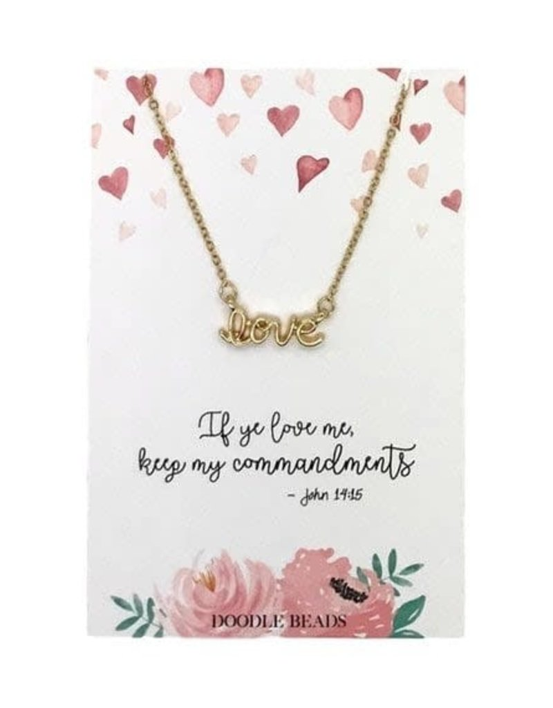 Love Script Necklace, If Ye Love Me Keep My Commandments, 2019 Mutual Theme, Gold
