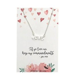 Love Script Necklace, If Ye Love Me Keep My Commandments, 2019 Mutual Theme, Silver