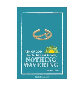 """Adjustable Gold Wave Ring, """"Nothing wavering"""" ring- Ask of God, Ask in Faith, Nothing Wavering"""
