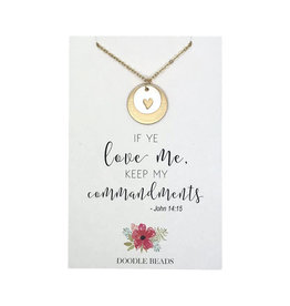 Layered Heart Necklace Two-Toned, If Ye Love Me Keep My Commandments,
