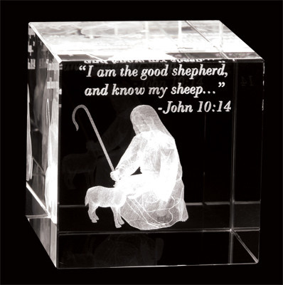 Laser Engraved Crystal Cube - The Good Shepherd