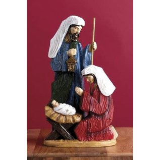 Seagull Books ACCENT HOLY FAMILY WOOD FINISH RED BLUE RESIN 14IN