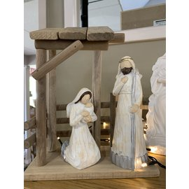 Seagull Books ACCENT HOLY FAMILY 3PC STABLE SILVERTRIM RESIN 9IN