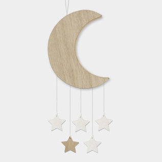 EastOfIndia 584 Wooden moon with hanging stars