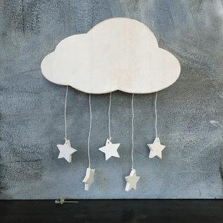 EastOfIndia 585 Wood cloud with stars