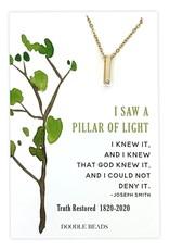 Pillar of Light CZ Bar Necklace, 200 Year Commemoration Church of Jesus Christ of Latter-Day Saints Gold