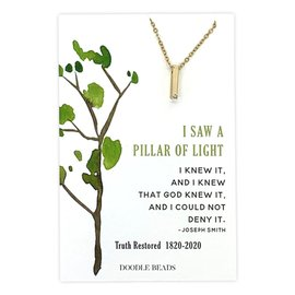 Pillar of Light CZ Bar Necklace, 200 Year Commemoration Church of Jesus Christ of Latter-Day Saints Gold