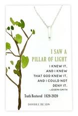 Pillar of Light CZ Bar Necklace, 200 Year Commemoration Church of Jesus Christ of Latter-Day Saints Silver