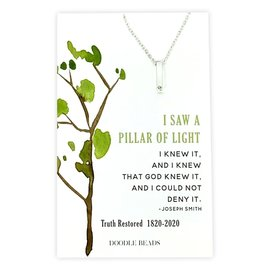 Pillar of Light CZ Bar Necklace, 200 Year Commemoration Church of Jesus Christ of Latter-Day Saints Silver