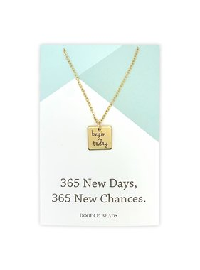 Begin Today Necklace, 365 New Days, 365 New Chances, Silver finish