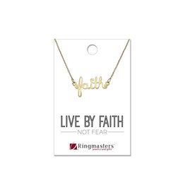 Faith Script Necklace Gold Finish