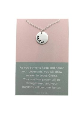 Strive Necklace. Strive to Become Nearer to Jesus Christ. Silver Finish