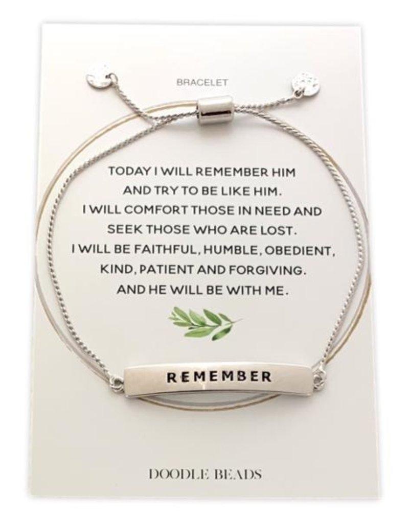 Remember Bracelet, Silver Finish Stamped Bar Bracelet With Card