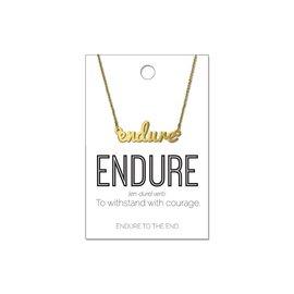 Endure Script Necklace Gold Finish