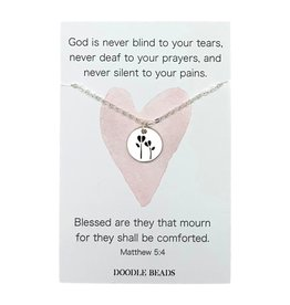 Dainty Stamped Heart Flower Disc Necklace, God is never blind to your tears (Silver finish)