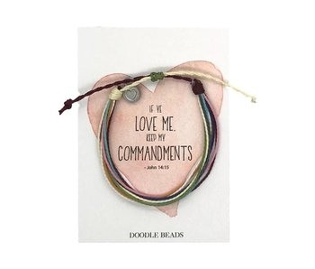 Commandments Thread Bracelet (multi colour) - If Ye love me, keep my commandments