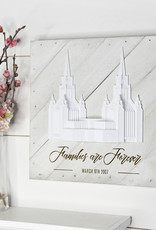 "Tiny 3D Temples Pallet Wall Décor White Wash (diagonal) London Temple, 10""x10"" – Inscription – Families are Forever (in script) LONDON ENGLAND (block)"