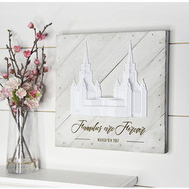 "Tiny 3D Temples Pallet Wall Décor White Wash (diagonal) London Temple, 10""x10"" – Inscription – Families are Forever (in script) LONDON ENGLAND (block)"