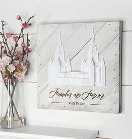 "Tiny 3D Temples Pallet Wall Décor White Wash (diagonal) Preston Temple, 10""x10"" – Inscription – Families are Forever (in script) PRESTON ENGLAND (block)"