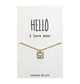 Framed Heart Necklace Gold – Hello I Love You!