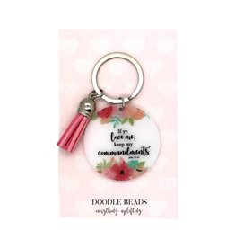 If Ye Love Me Keep My Commandments Acrylic Key Ring With Tassel, Pink