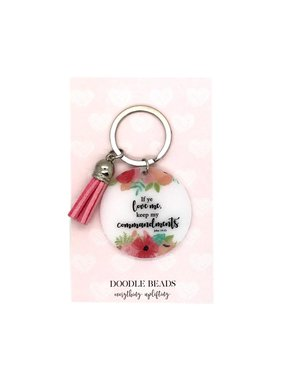 If Ye Love Me Keep My Commandments Acrylic Key Ring With Tassel, Pink