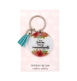 If Ye Love Me Keep My Commandments Acrylic Key Ring With Tassel, Blue