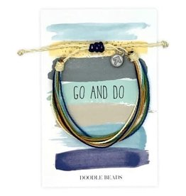 Go and Do Thread Bracelet on striped card