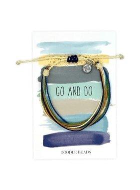 Go and Do Thread Bracelet on striped card
