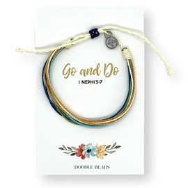 Go and Do Thread Bracelet on floral card
