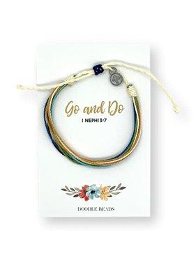 Go and Do Thread Bracelet on floral card