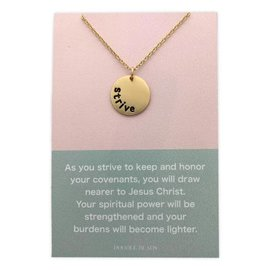 Strive Necklace. Strive to Become Nearer to Jesus Christ. Gold Finish
